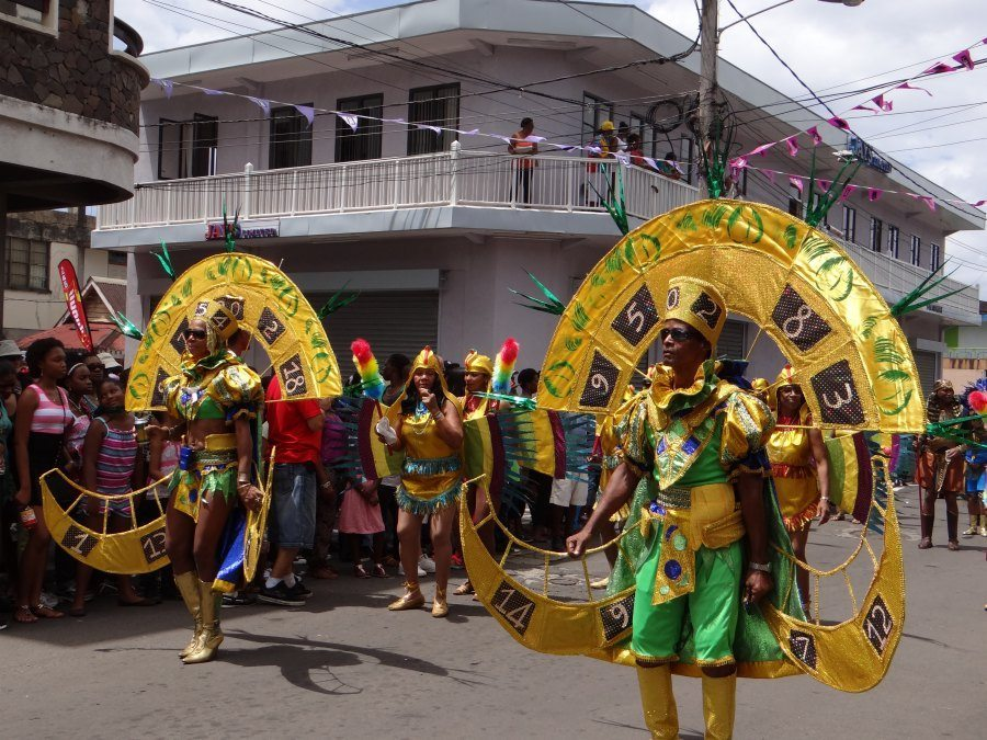 gold costumes at Dominica Carnival